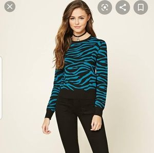Forever 21 Teal/Black Zebra Sweater sz M